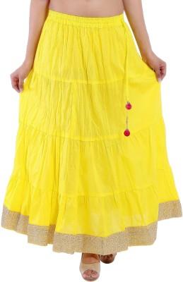 Decot Paradise Solid Women's Regular Yellow Skirt