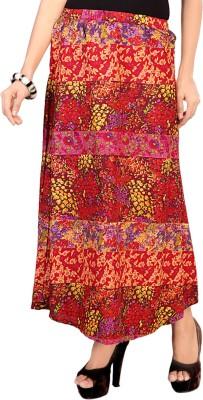 SFDS Printed Women's Regular Red Skirt