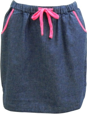 Abstract Mood Solid Girl's A-line Blue Skirt