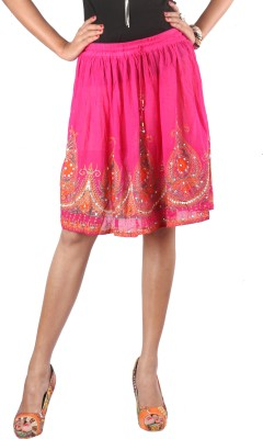 Indiankala4u Printed, Self Design Women,s Broomstick Pink Skirt