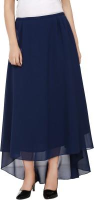 Tops and Tunics Solid Women's Asymetric Dark Blue Skirt at flipkart