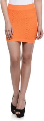 N-Gal Solid Women's Pencil Orange Skirt