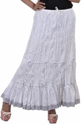 Jaipur Kala Kendra Printed Women's Regular White Skirt