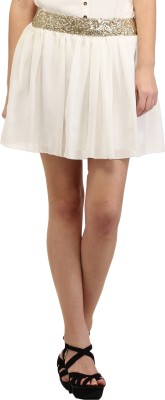 Cation Solid Women's A-line White Skirt