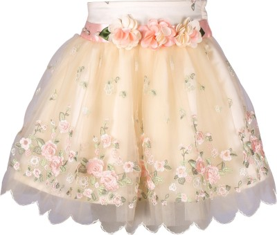 Cutecumber Embellished Girl's A-line Pink Skirt