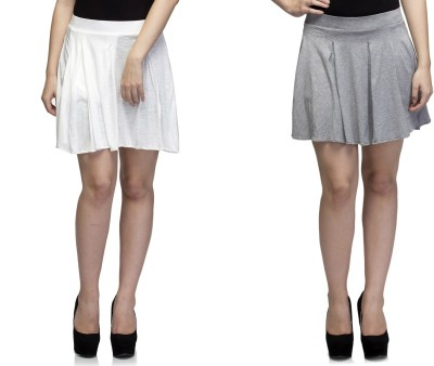 Dee Fashion House Solid Women's Pleated White, Grey Skirt