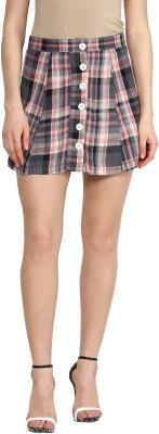 Sassafras Checkered Women's A-line Multicolor Skirt at flipkart