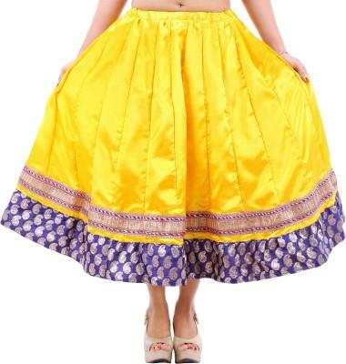 Desert Eshop Solid Women's Pleated Yellow Skirt
