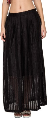 Kaxiaa Striped Women's A-line Black Skirt