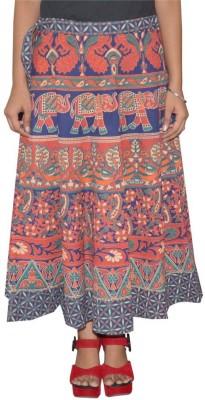 Shreeka Printed Women's Wrap Around Blue, Maroon Skirt