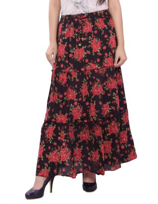 Razio Self Design Women's Straight Black Skirt