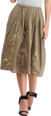 Amirich Self Design Women's A-line Green Skirt