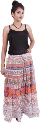 El Sandalo Printed Women's Broomstick Multicolor Skirt