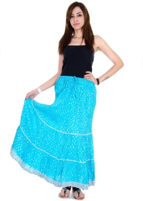Ooltha Chashma Self Design Women's Broomstick Blue Skirt