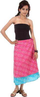 Rajrang Printed Women's Wrap Around Pink, Blue Skirt at flipkart