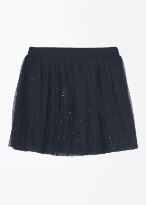 United Colors of Benetton Solid Girl's Pleated Blue Skirt