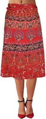 Shopatplaces Self Design Women's Wrap Around Red Skirt