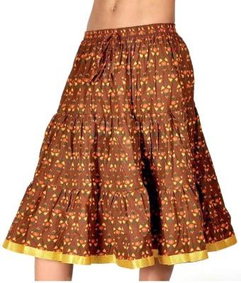 Jaipur Raga Floral Print Women's Regular Yellow Skirt