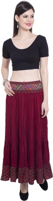 Tuntuk Embroidered Women's A-line Maroon Skirt