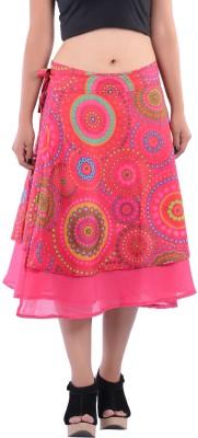 Indi Bargain Geometric Print Women's A-line Pink Skirt