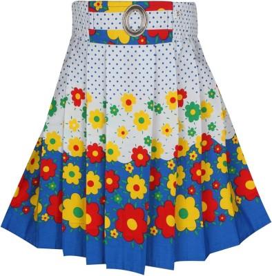 Jazzup Printed Girl's Gathered White, Blue Skirt