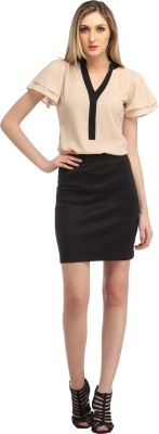 Cation Solid Women's Pencil Black Skirt