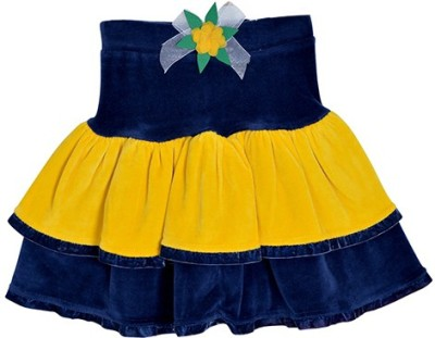 Lil Orchids Solid Girl's Tiered Blue Skirt