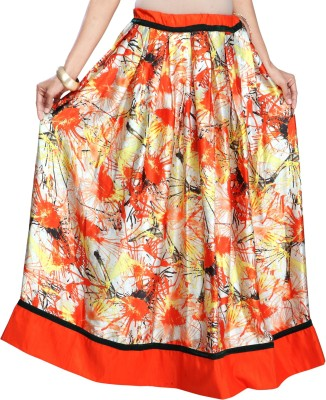 Admyrin Self Design Women's Wrap Around Orange Skirt