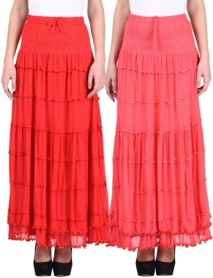 Numbrave Solid Women's Gathered Red, Pink Skirt