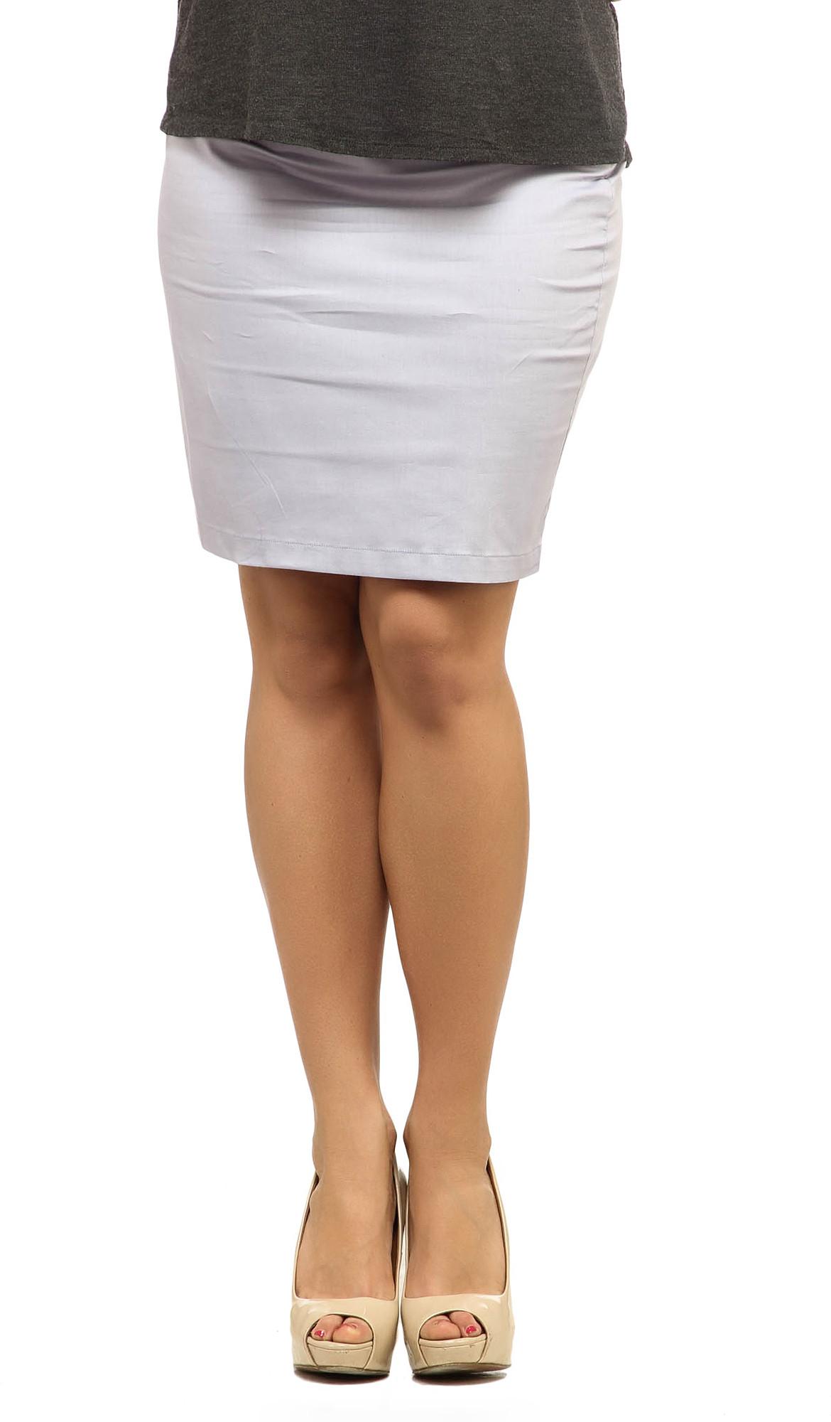 Cottinfab Solid Womens Straight Grey Skirt