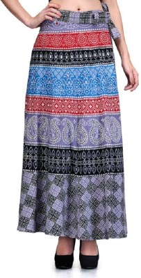Saffron Craft Printed Women's Wrap Around Black, Grey Skirt