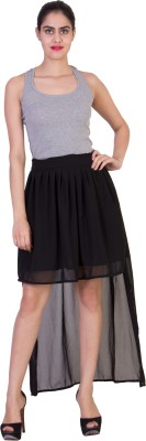 Curvyy Solid Girl's Asymetric Black Skirt