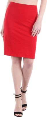 Hotberries Solid Women's Pencil Red Skirt