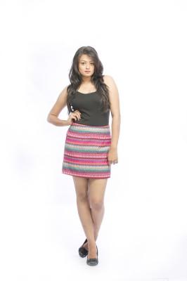 Pinwheel Striped Women's Regular Multicolor Skirt
