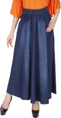 Svt Ada Collections Solid Women,s A-line Dark Blue Skirt