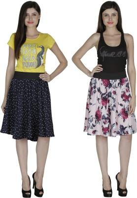 Shopingfever Printed Women's A-line Dark Blue, Pink Skirt