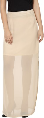 Tops and Tunics Solid Women's Tube Beige Skirt