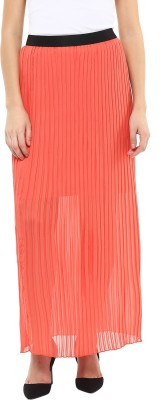 Avirate Solid Women's Regular Orange Skirt at flipkart
