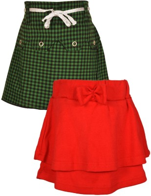 Gkidz Checkered Girl's A-line Blue, Red Skirt