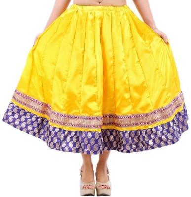 Vivancreation Embroidered Women's Regular Yellow Skirt