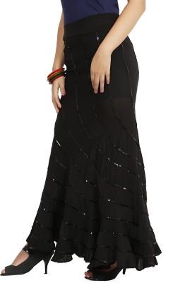 Sringar Solid Women's Regular Black Skirt