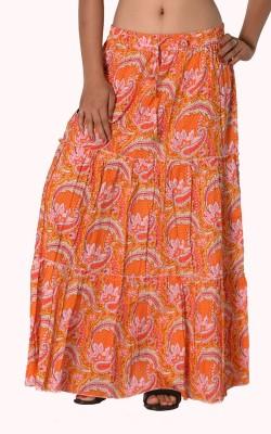 SBS Paisley Women's Tiered Orange Skirt