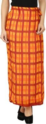 Eves Pret A Porter Checkered Women's Wrap Around Red, Orange Skirt