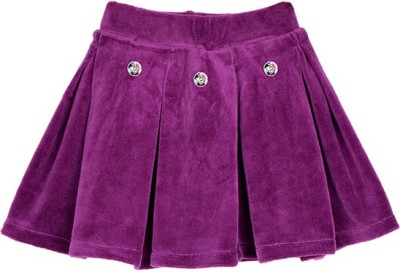 Lil Orchids Solid Girl's Pleated Purple Skirt