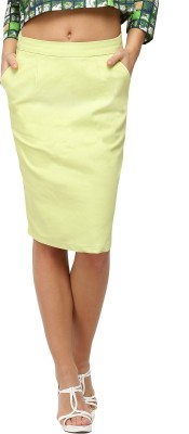 Vodka Fashion India Solid Women's Pencil Light Green Skirt