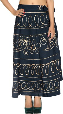 Rajrang Checkered Women's Wrap Around Green Skirt at flipkart