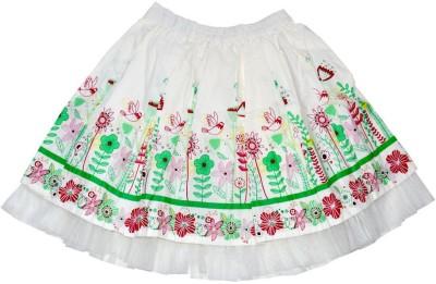 Young Birds Printed Girl's Gathered White Skirt