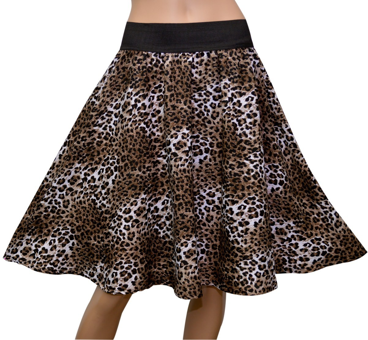 GraceDiva Animal Print Womens Gathered Brown Skirt
