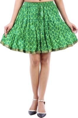 Desert Eshop Printed Women's A-line Green Skirt