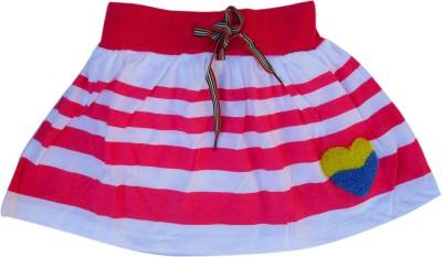 Garlynn Printed Girl's A-line White, Red Skirt